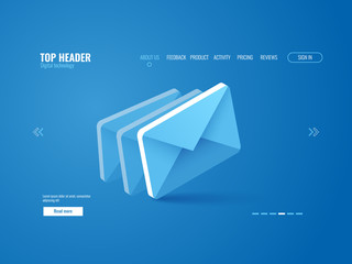 Email icon isometric, website page template vector on blue