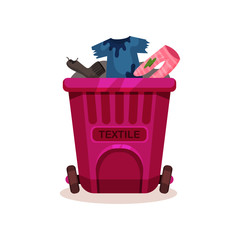 Pink plastic container with textile waste, dirty and ragged clothes. Garbage bin with two wheels. Flat vector design