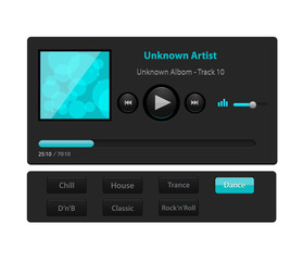 Set of ui ux audio and video media player template in vector with design elements and icons