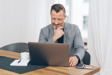 Mature smiling man sitting in front of laptop
