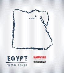 Egypt vector chalk drawing map isolated on a white background