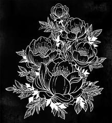 Beautiful stem of magnolia, dogrose or peony flowers.