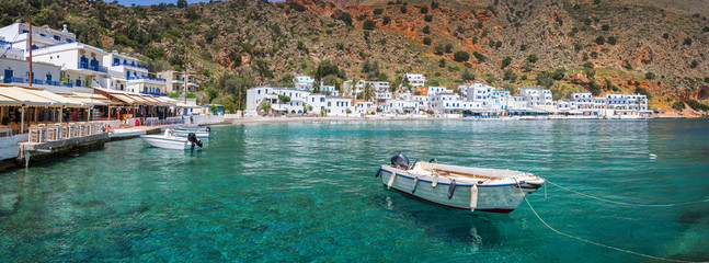 Wall Mural - Panorama of the scenic village of Loutro in Crete, Greece