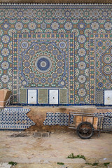 Traditional mosaic on the wall in Meknes, Morocco