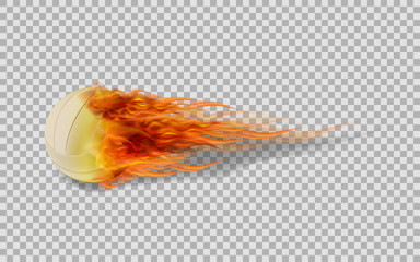 Realistic vector volleyball in fire on transparent background.