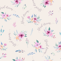 Watercolor floral pattern. Seamless pattern with purple, gold and pink bouquet on white background. Flowers, roses, peonies and leaves