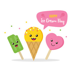 Cute colorful card, illustration for Ice Cream Day with three happy, smiling ice cream characters.