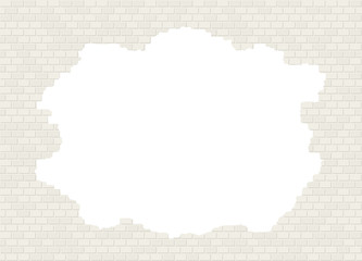 Vector broken white brick wall background with big hole