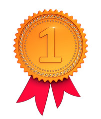 Number one1, first place 1st award ribbon medal golden red. Winner reward, champion achievement success icon. 3d illustration, isolated
