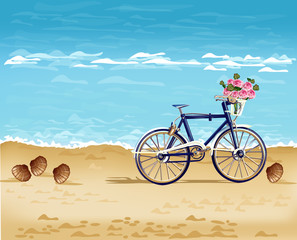 Bicycle on the beach card Vector realistic. Detailed 3d illustrations
