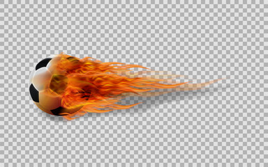Realistic vector soccer ball in fire on transparent background.