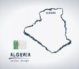 Algeria vector chalk drawing map isolated on a white background