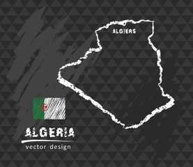 Map of Algeria, Chalk sketch vector illustration