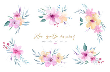 Hand drawing isolated boho watercolor floral illustration bouquets with leaves, branches, flowers. Bohemian greenery art in vintage style. gold greeting wedding card.