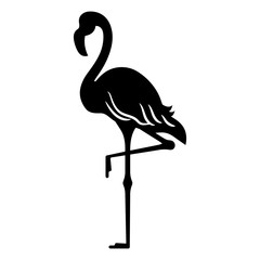 Black silhouette of a flamingo bird, standing on one leg, isolated.