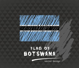 Botswana flag, vector sketch hand drawn illustration on dark grunge background