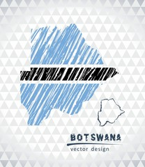 Map of Botswana with hand drawn sketch pen map inside. Vector illustration