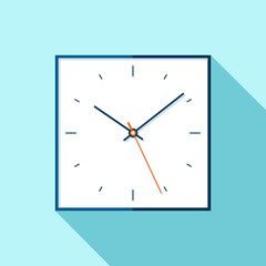 Clock icon in flat style, square minimalistic timer on blue background. Simple business watch. Vector design element for you project