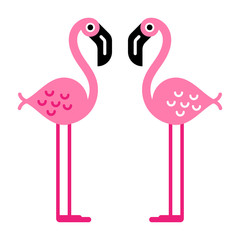 Flat colorful illustration of two pink flamingo characters, isolated.