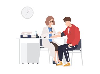 Female doctor or medical adviser sits at desk and measures blood pressure of male patient. Man at physician s office, cardiology clinic or hospital. Colorful cartoon vector illustration in flat style.