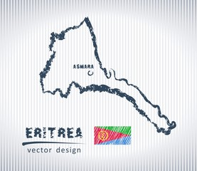 Eritrea national vector drawing map on white background