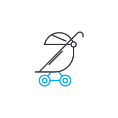 Baby carriage vector thin line stroke icon. Baby carriage outline illustration, linear sign, symbol isolated concept.