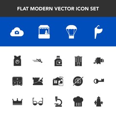 Modern, simple vector icon set with bathroom, cleaner, travel, spray, food, water, chief, house, faucet, mouth, drawer, housework, object, tower, photo, sand, store, sport, plane, shop, balloon icons