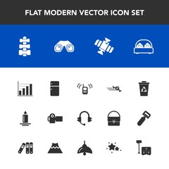 Modern, simple vector icon set with photographer, phone, photography, equipment, speaker, recycle, orbit, flame, ringing, sound, plane, flight, music, data, candle, waste, planet, garbage, space icons