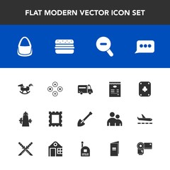 Modern, simple vector icon set with medical, ambulance, tool, poker, play, young, game, communication, message, camera, child, construction, fun, book, border, duck, kitchen, speech, photo, chat icons