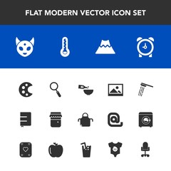 Modern, simple vector icon set with monster, volcano, old, background, lava, watch, glass, time, honey, zoom, picture, jam, mountain, wine, fiction, drink, art, bath, dinner, chef, space, crater icons