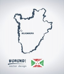 Burundi vector chalk drawing map isolated on a white background