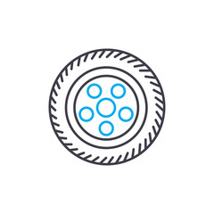 Car wheel vector thin line stroke icon. Car wheel outline illustration, linear sign, symbol isolated concept.