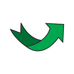 Arrow green sign in white background