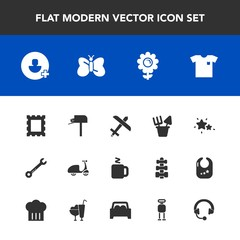 Modern, simple vector icon set with wrench, spring, fashion, frame, border, blossom, sign, box, white, clothing, night, message, sand, background, nature, cycle, post, bike, astronomy, picture icons