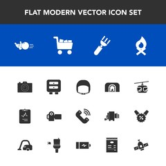 Modern, simple vector icon set with hot, train, fork, work, worker, sport, space, dinner, medicine, sign, helmet, medical, photo, bowling, christmas, restaurant, call, knife, camera, photography icons