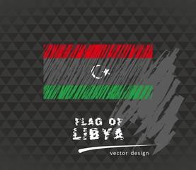 Flag of Libya, vector pen illustration on black background