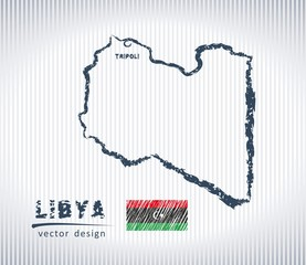 Libya national vector drawing map on white background