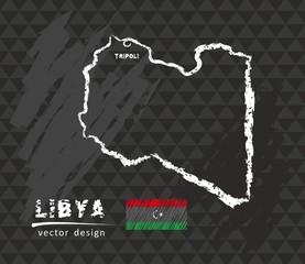 Libya map, vector pen drawing on black background