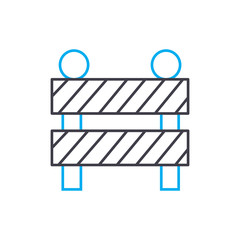 Construction fence vector thin line stroke icon. Construction fence outline illustration, linear sign, symbol isolated concept.