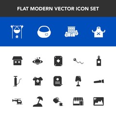 Modern, simple vector icon set with clothing, sky, school, bonfire, glass, fun, fireplace, restaurant, estate, game, chief, joy, photo, kid, picture, business, space, hot, kite, building, flame icons