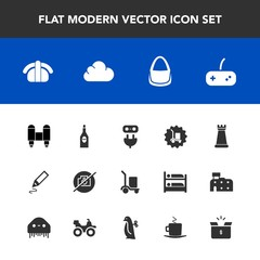Modern, simple vector icon set with picture, space, warehouse, joystick, office, camera, plug, glass, japan, fashion, craft, play, bag, package, cargo, cardboard, no, piece, energy, red, chess icons