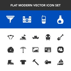 Modern, simple vector icon set with rider, ufo, olive, service, mediterranean, yacht, parachute, wagasa, frame, conditioner, umbrella, extreme, filter, tool, air, oil, cap, shovel, jump, helmet icons