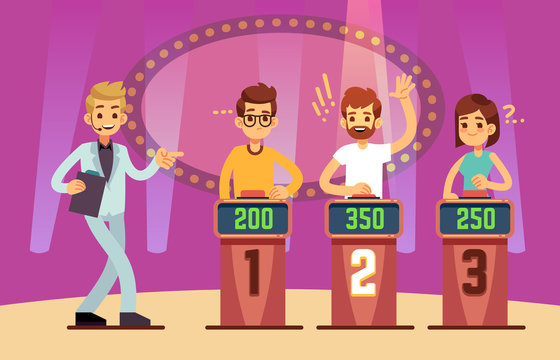 Clever young people playing quiz game show. Cartoon vector illustration