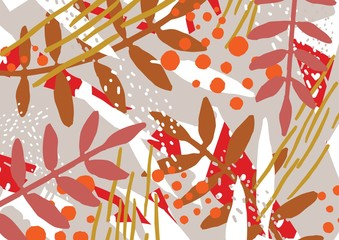 Abstract background with stylized autumn leaves and berries. Artistic motley colorful horizontal backdrop with natural seasonal decorations. Modern decorative vector illustration in flat style.
