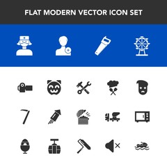 Modern, simple vector icon set with equipment, work, fashion, food, event, animal, tool, camera, chef, photo, wrench, retro, kitty, london, park, holiday, restaurant, eye, graphic, firework, add icons