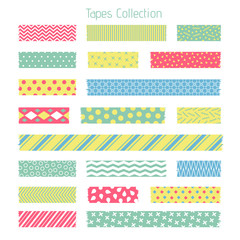 Scotch with trendy geometric pattern. Adhesive tape for scrapbook vector set