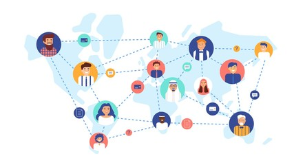Round portraits of smiling people connected with each other on world map. International business team, global professional network, multinational company. Flat cartoon colorful vector illustration.