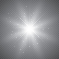 Glowing lights effect, flare, explosion and stars. Special effect isolated on transparent background..