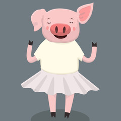Vector illustration of cute pig cartoon isolated on background