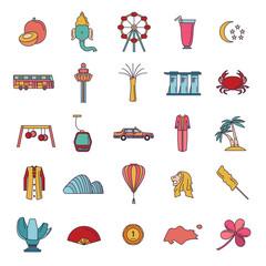 Singapore icons set, cartoon style